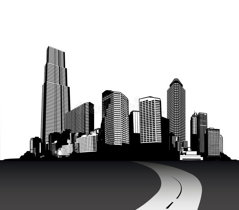 Paesaggio urbano in bianco e nero con i grattacieli e la strada illustrazione vettoriale
