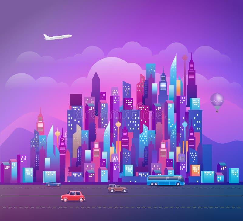 Paesaggio urbano con i grattacieli ed i veicoli moderni illustrazione vettoriale