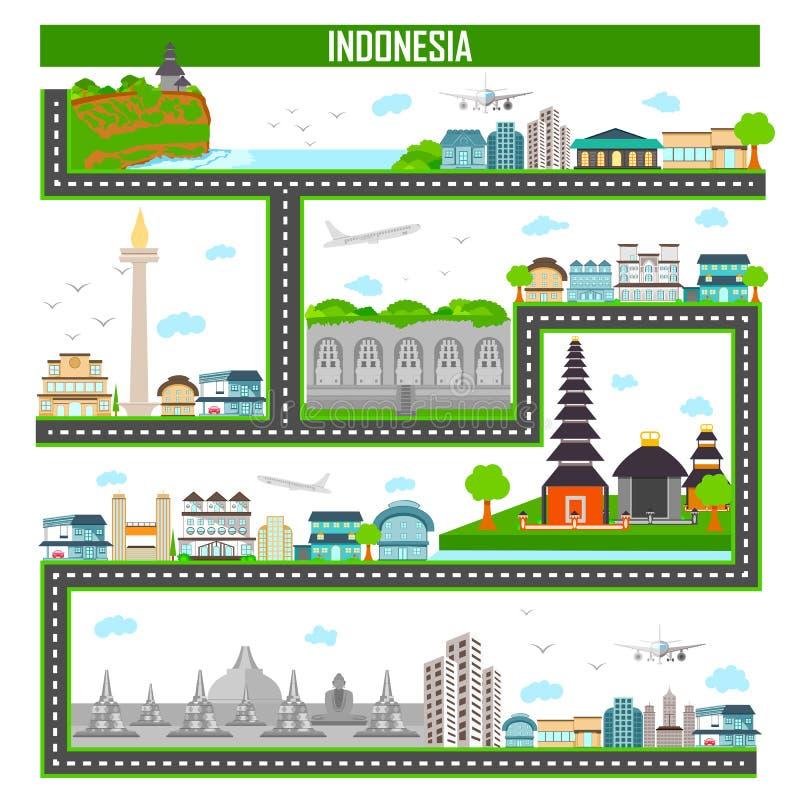 Paesaggio urbano con il monumento e la costruzione famosi dell'Indonesia illustrazione di stock
