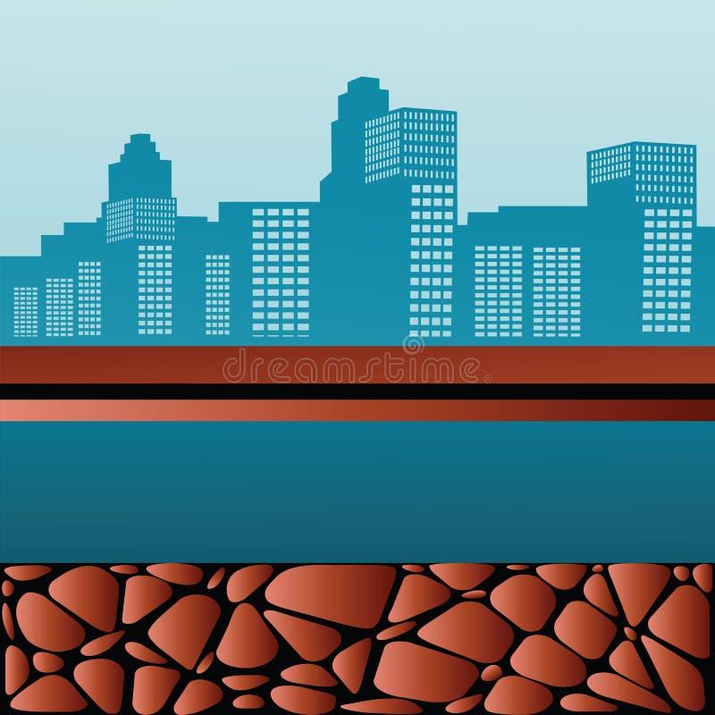 Paesaggio urbano con il sentiero costiero illustrazione vettoriale