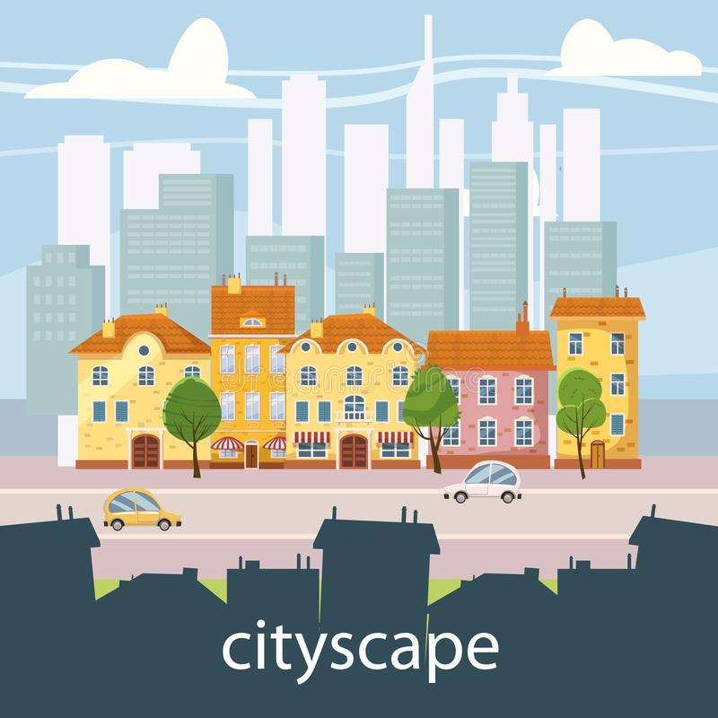 Paesaggio urbano con le grandi costruzioni moderne e sobborgo con le case private Via, strada principale con le automobili Città  royalty illustrazione gratis