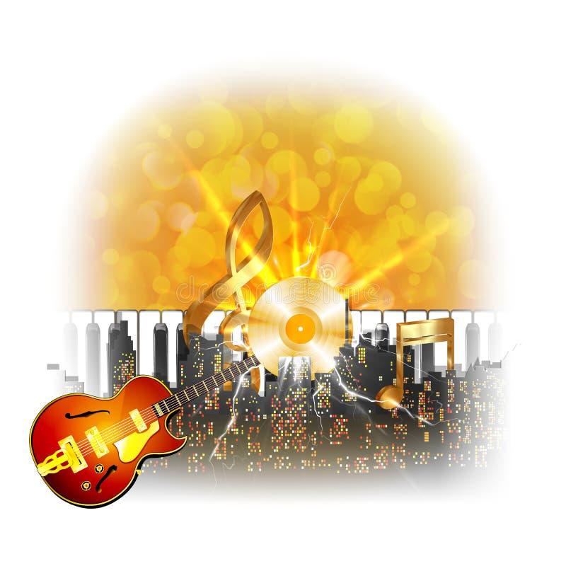 Paesaggio urbano con un vinile dorato della chitarra e dell'istantaneo illustrazione di stock