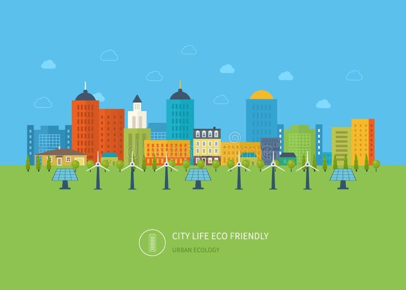 Paesaggio urbano Concetto piano di vettore di progettazione illustrazione vettoriale