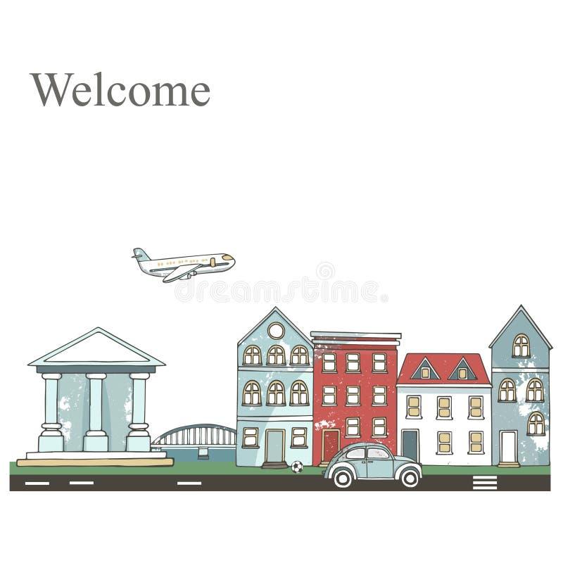 Paesaggio urbano Costruzioni e sobborgo moderni con le case private Città piana Vettore moderno di clipart di stile disegnato a m royalty illustrazione gratis