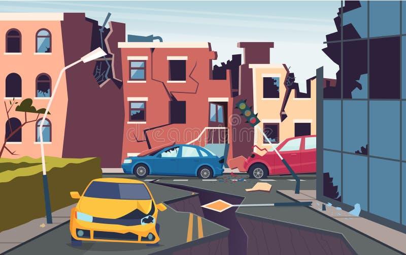 Paesaggio urbano danneggiato Natura cataclisma città distrutta problemi di urbanizzazione del terremoto crescono le strade del te illustrazione di stock