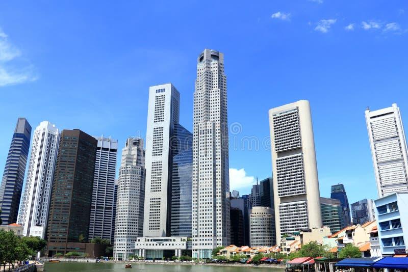 Paesaggio urbano del fiume di Singapore immagine stock