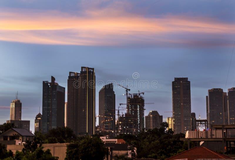 Paesaggio urbano del sud di Jakarta nel pomeriggio fotografie stock