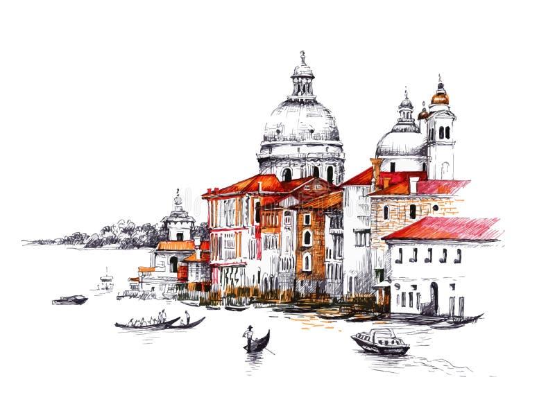 Paesaggio urbano dell'acquerello con le case illustrazione di stock
