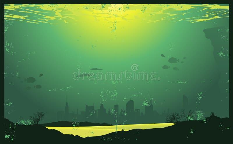 Paesaggio urbano dell'annata subacquea illustrazione di stock