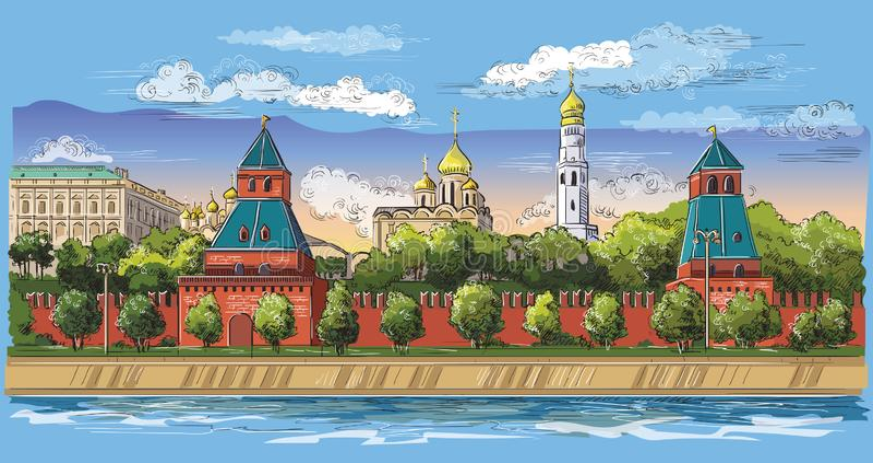 Paesaggio urbano dell'argine del quadrato rosso delle torri di Cremlino e del fiume di Mosca, disegno isolato variopinto della ma illustrazione vettoriale