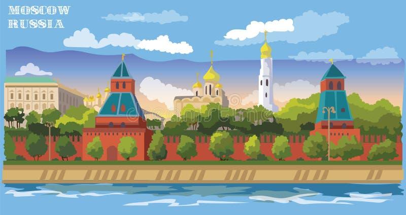 Paesaggio urbano dell'argine del quadrato rosso internazionale del punto di riferimento delle torri di Cremlino, Mosca, Russia Il illustrazione vettoriale