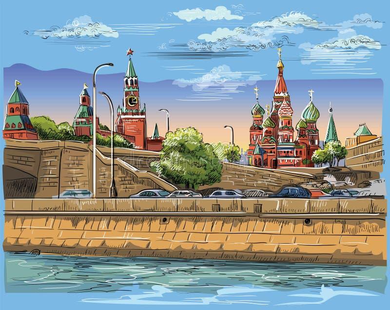 Paesaggio urbano dell'argine delle torri e del ponte di Cremlino attraverso il quadrato rosso del fiume di Mosca, vettore isolato illustrazione di stock