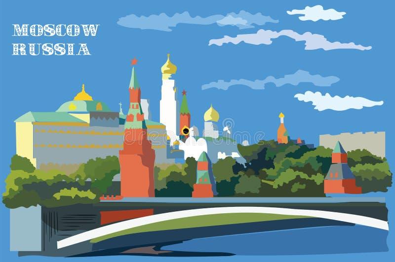 Paesaggio urbano dell'argine delle torri e del ponte di Cremlino attraverso il quadrato rosso internazionale del punto di riferim royalty illustrazione gratis