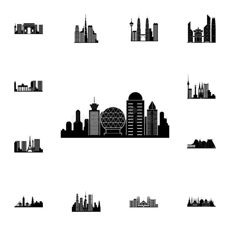 paesaggio urbano dell'icona di Roma Insieme dettagliato delle icone di paesaggio urbano Segno premio di progettazione grafica di  royalty illustrazione gratis