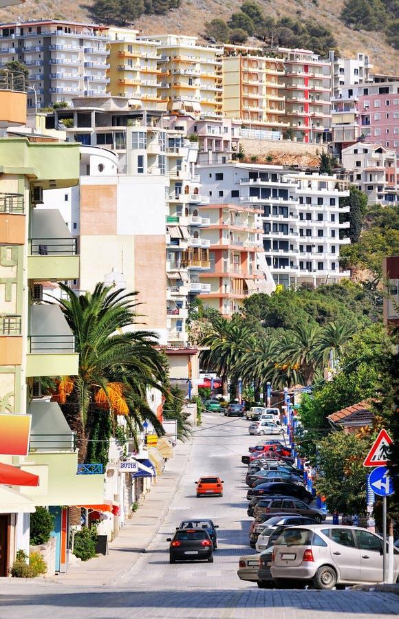 Paesaggio urbano della città di Saranda. fotografia stock libera da diritti