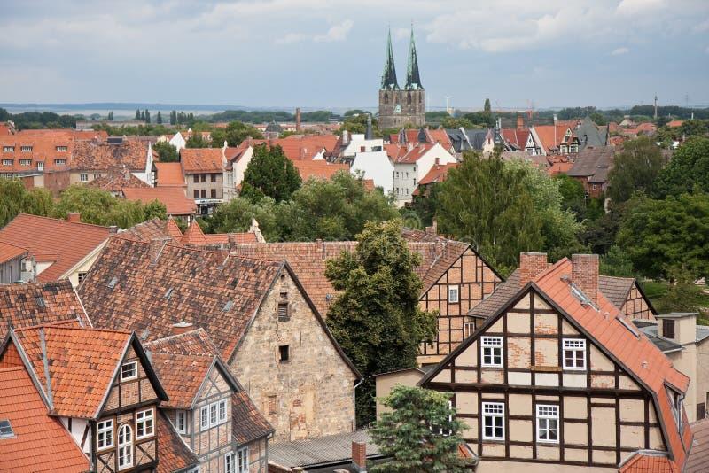 Paesaggio urbano della città medioevale Quedlinburg immagine stock libera da diritti