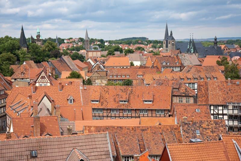 Paesaggio urbano della città medioevale Quedlinburg immagini stock libere da diritti