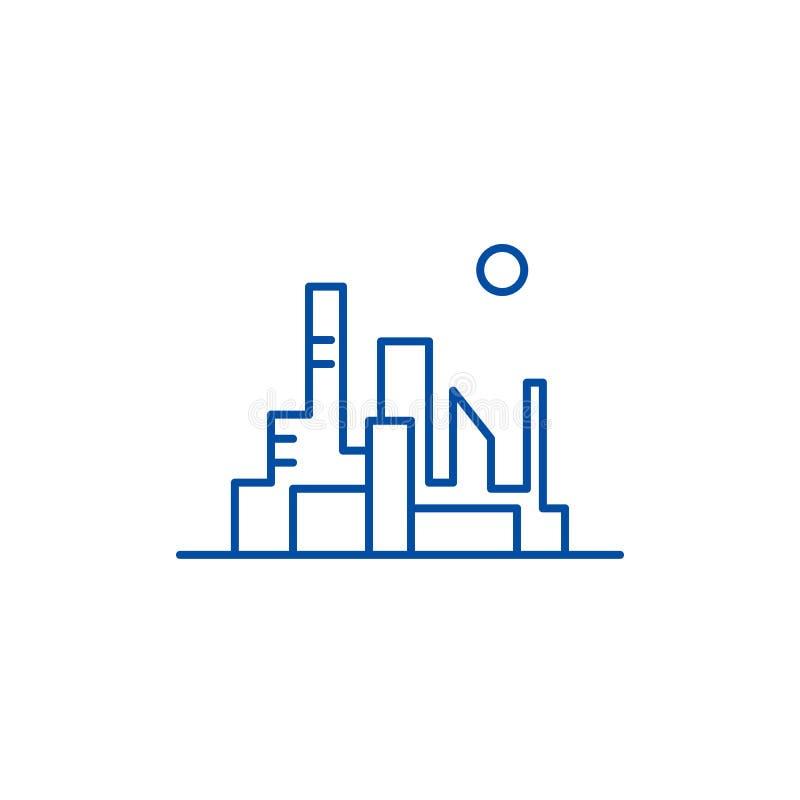 Paesaggio urbano della linea capitale concetto dell'icona Paesaggio urbano del simbolo piano capitale di vettore, segno, illustra illustrazione vettoriale