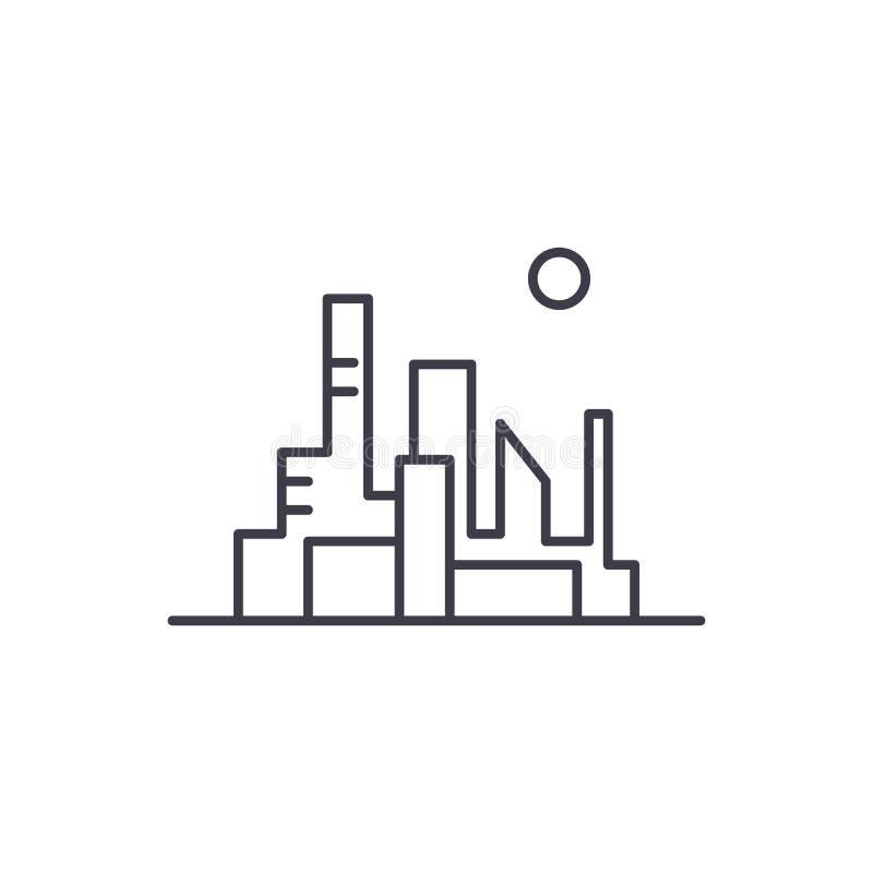 Paesaggio urbano della linea capitale concetto dell'icona Paesaggio urbano dell'illustrazione lineare di vettore capitale, simbol illustrazione di stock