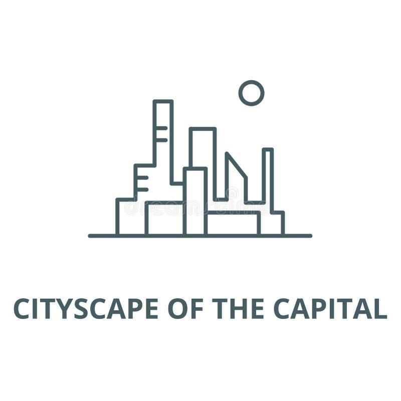 Paesaggio urbano della linea capitale icona, concetto lineare, segno del profilo, simbolo di vettore illustrazione di stock