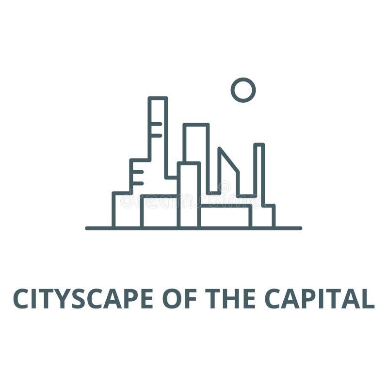 Paesaggio urbano della linea capitale icona, vettore Paesaggio urbano del segno capitale del profilo, simbolo di concetto, illust illustrazione di stock
