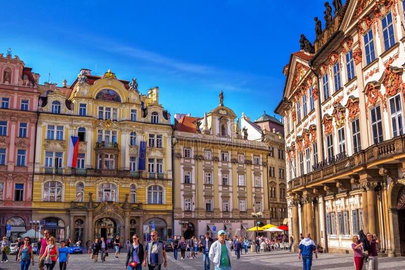 Paesaggio urbano della primavera vista del †di Praga «di vecchia piazza fotografia stock libera da diritti