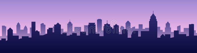 Paesaggio urbano della siluetta dell'orizzonte della città del fondo dell'illustrazione di vettore