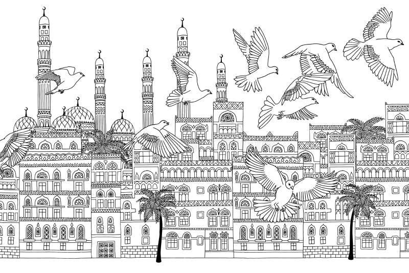 Paesaggio urbano di arabesque con gli uccelli illustrazione vettoriale