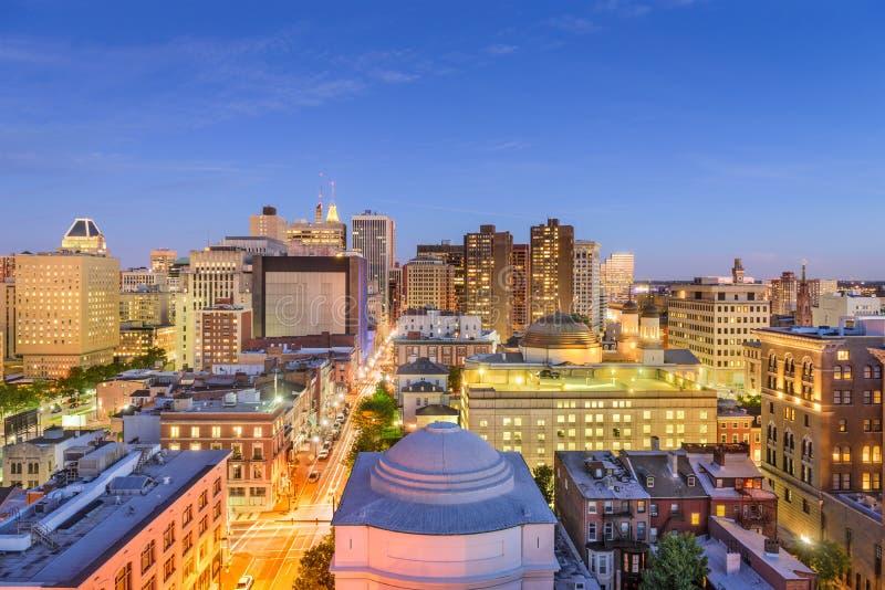 Paesaggio urbano di Baltimora, Maryland fotografie stock libere da diritti