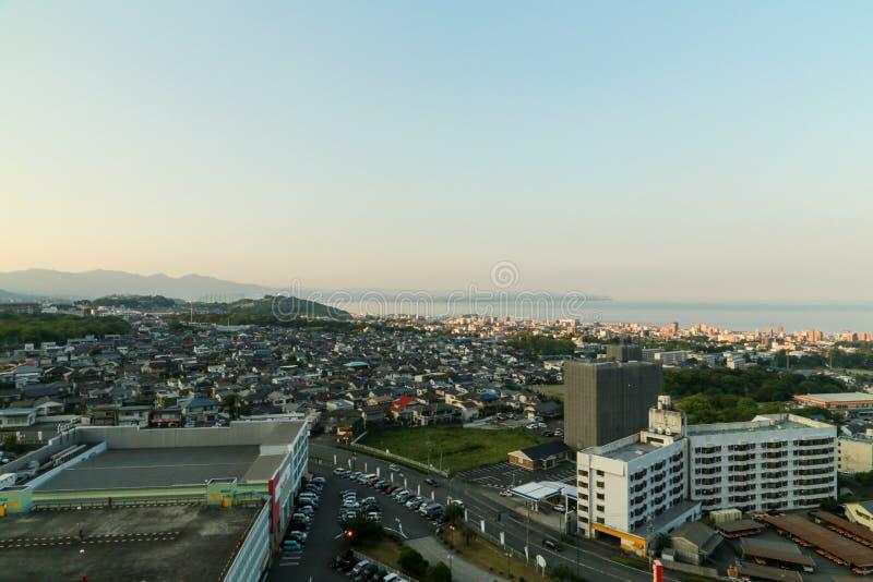 Paesaggio urbano di Beppu fotografie stock libere da diritti