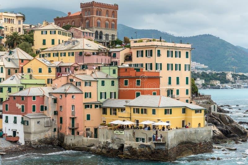 Paesaggio urbano di Boccadasse, Genova, Italia fotografia stock libera da diritti