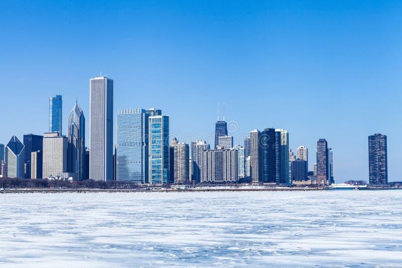 Paesaggio urbano di Chicago nell'inverno immagine stock libera da diritti