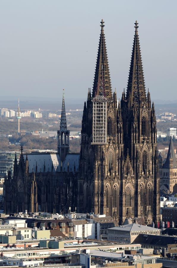 Paesaggio urbano di Colonia con la cattedrale di Colonia immagini stock libere da diritti