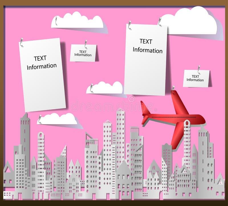 Paesaggio urbano di costruzione e del grattacielo con l'aereo e le nuvole nello stile di carta sul tabellone per le affissioni ro illustrazione di stock