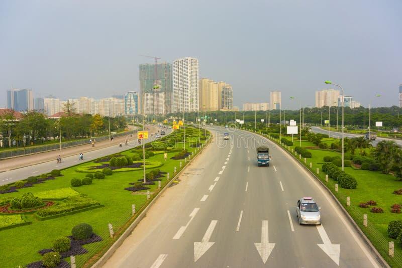 Paesaggio urbano di Hanoi della capitale a penombra Hanoi si è trasformata in in una città moderna come molta alta costruzione au immagine stock