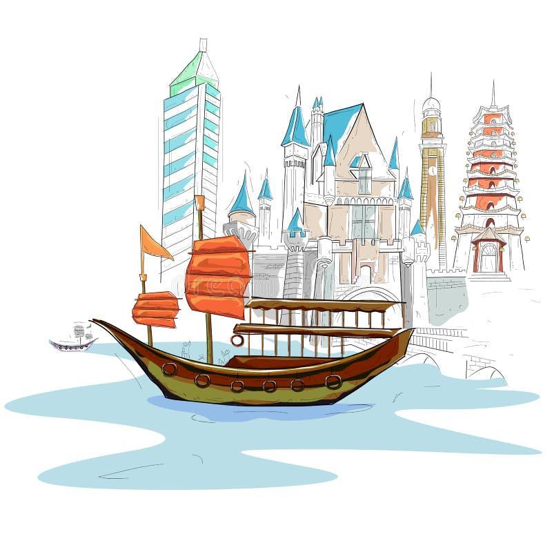 Paesaggio urbano di Hong Kong illustrazione di stock