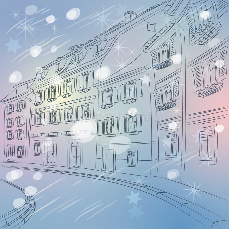 Paesaggio urbano di inverno di Natale di vettore dell'europeo anziano  illustrazione vettoriale