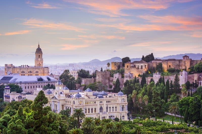 Paesaggio urbano di Malaga, Spagna sul mare immagini stock libere da diritti
