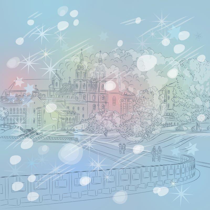 Paesaggio urbano di Natale di inverno di vettore con la chiesa e  illustrazione di stock