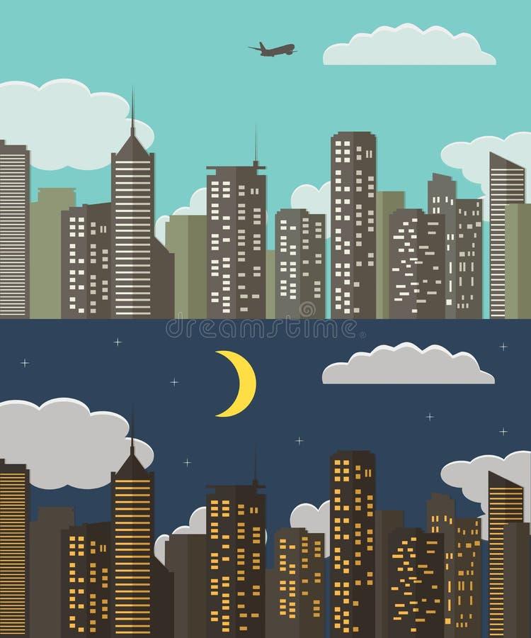 Paesaggio urbano di notte e di giorno Fondo della città di estate Illustrazione di vettore illustrazione vettoriale