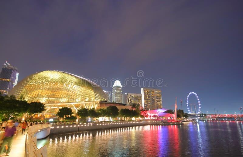 Paesaggio urbano di notte di Singapore immagine stock libera da diritti