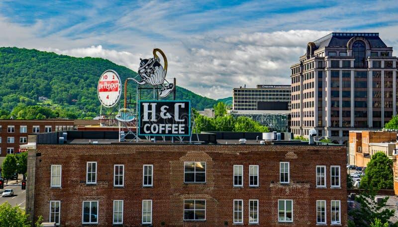 Paesaggio urbano di Roanoke, la Virginia, U.S.A. fotografia stock libera da diritti