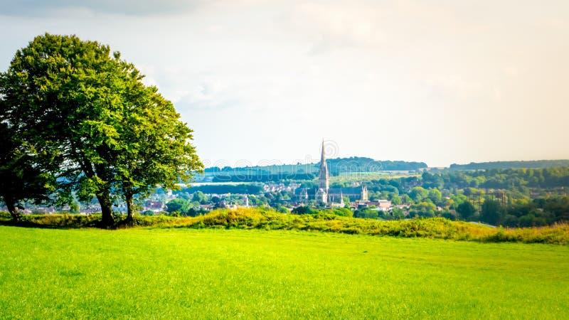 Paesaggio urbano di Salisbury con la cattedrale dal vecchio Sarum a Salisbury, Regno Unito immagini stock