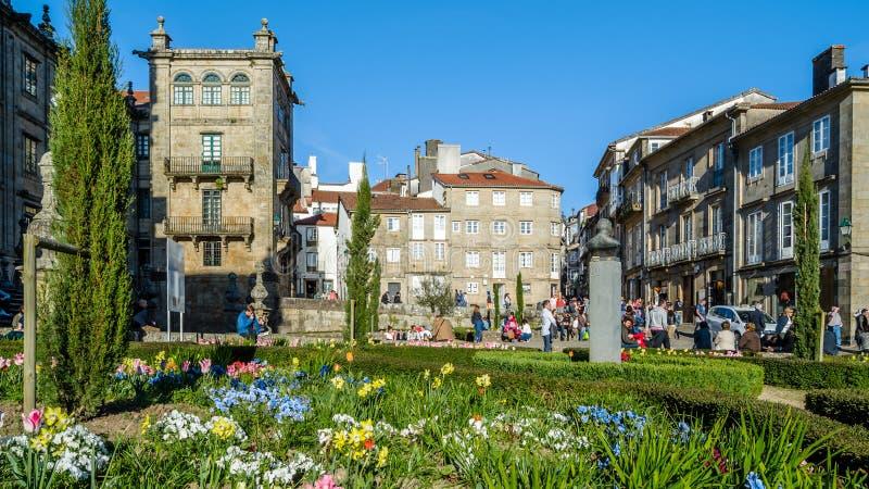 Paesaggio urbano di Santiago de Compostela, Galizia, Spagna immagine stock libera da diritti