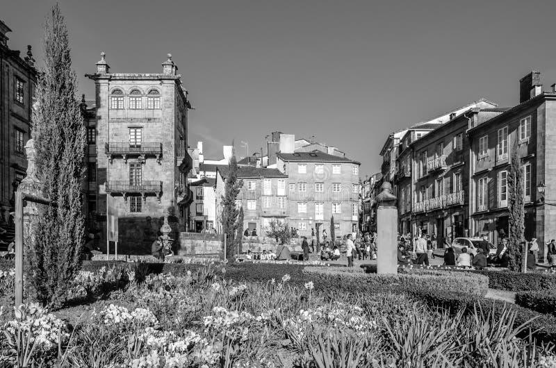 Paesaggio urbano di Santiago de Compostela, Galizia, Spagna fotografia stock libera da diritti