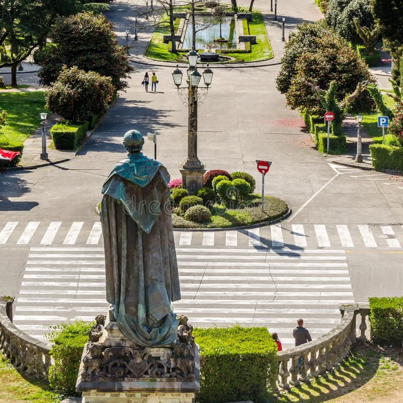 Paesaggio urbano di Santiago de Compostela, Galizia, Spagna del Nord fotografia stock libera da diritti