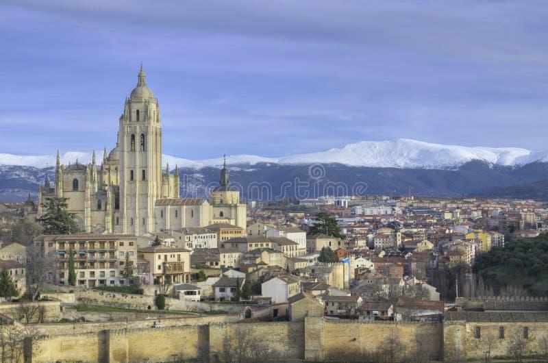 Paesaggio urbano di Segovia. Punto di riferimento spagnolo famoso immagine stock libera da diritti