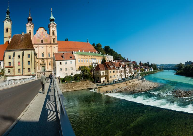 Paesaggio urbano di Steyr immagini stock