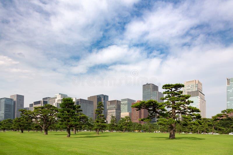 Paesaggio urbano di Tokyo dei giardini del palazzo e del distretto di Marunouchi immagini stock