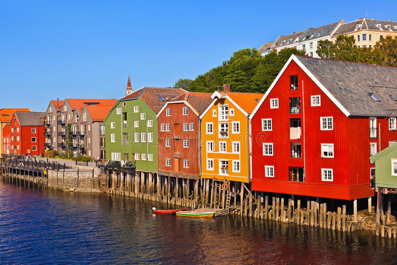 Paesaggio urbano di Trondeim, Norvegia immagini stock libere da diritti